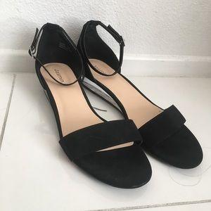 Women's Ankle Strap Low Clear Heel Sandals